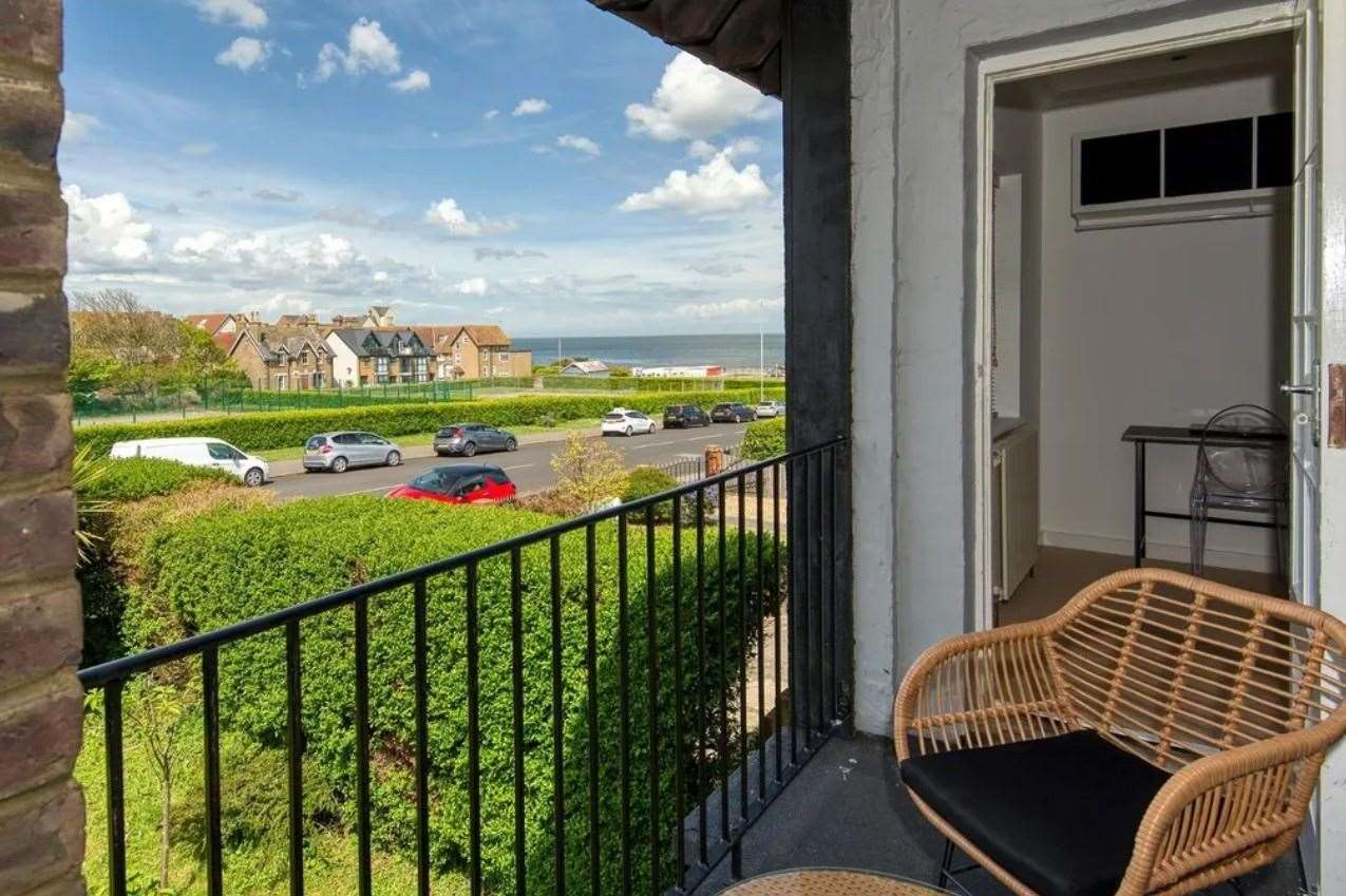 Sea views from the balcony. Picture: Zoopla / Miles & Barr