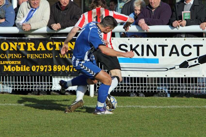 Winger Rhys Lawson in action for Herne Bay Picture: Tony Day