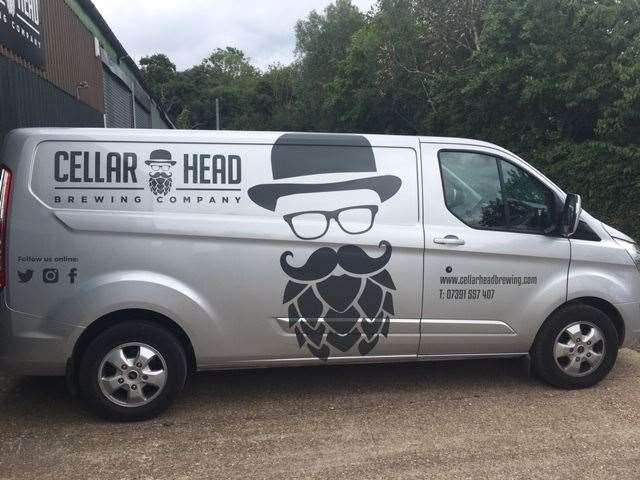 The Cellar Head van, used for collections and deliveries proudly sports the brewery logo