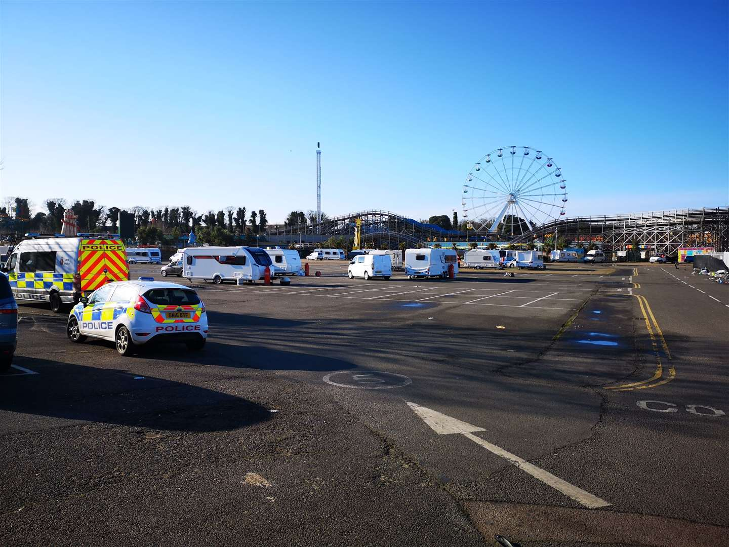 Travellers from the Dreamland car park in Margate were removed by council teams and the police