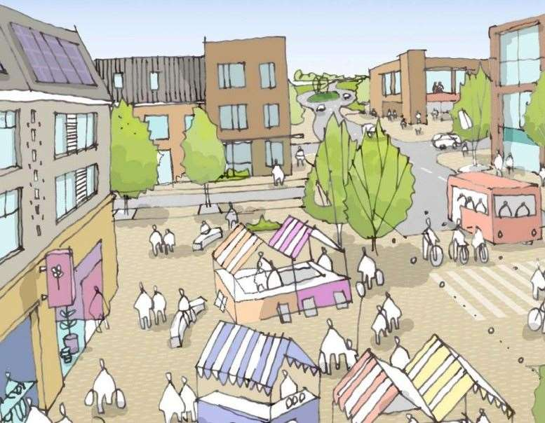 How the centre of the Heathlands Garden Community in Lenham could look. Picture: Maidstone Borough Council