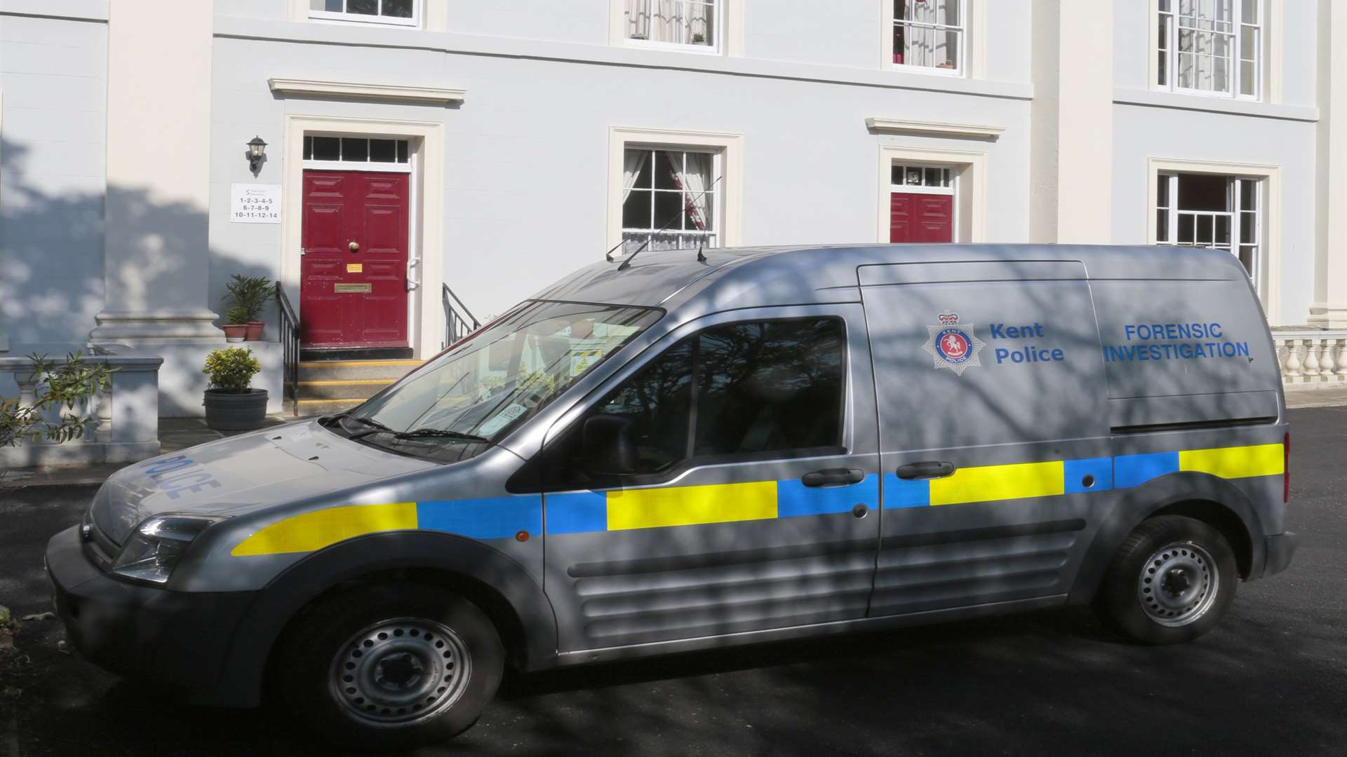 A police forensic van at the scene following the discovery