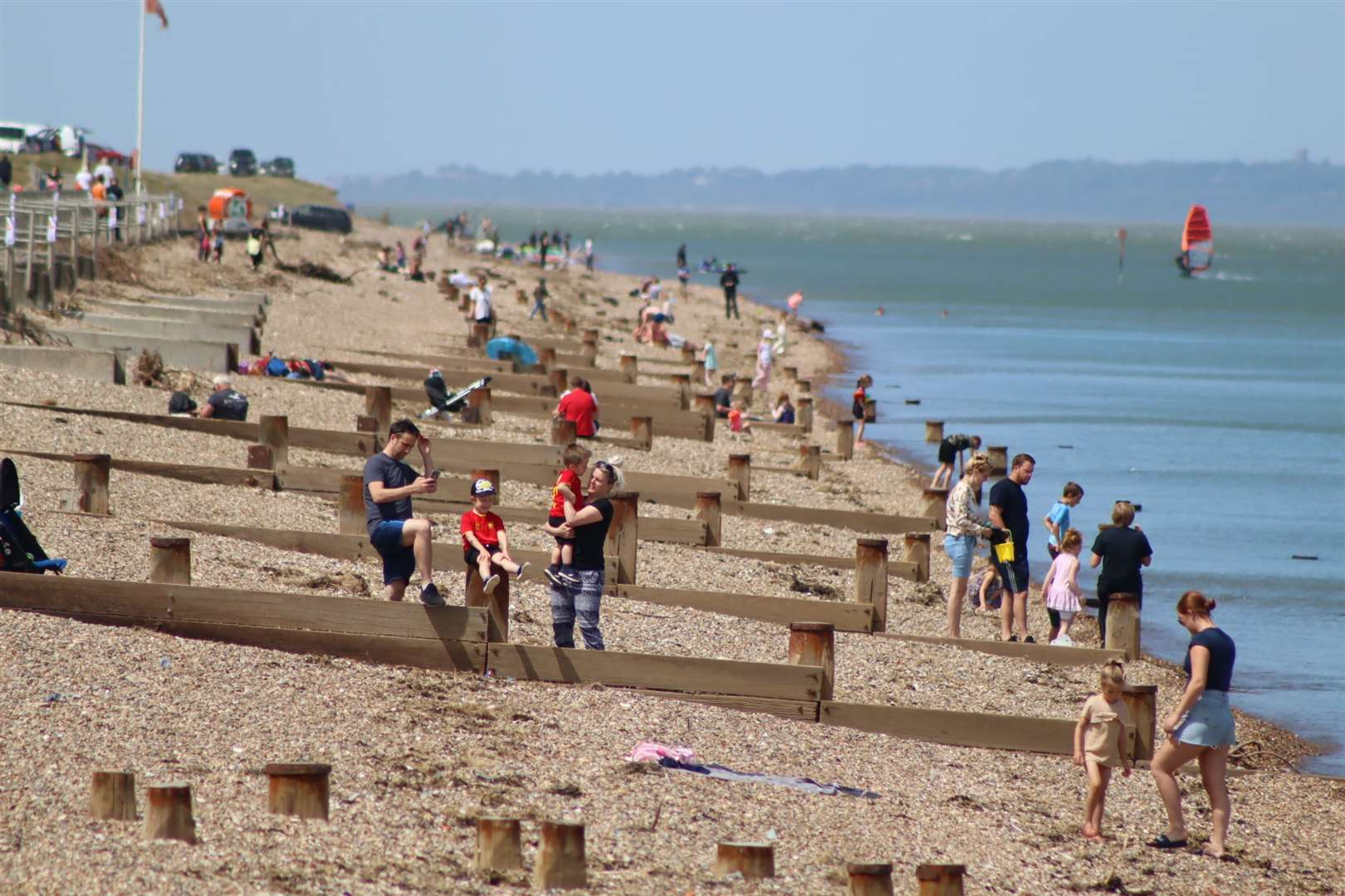 People on the beach at The Leas, Minster, Sheppey - but keeping social distancing during the coronavirus lockdown