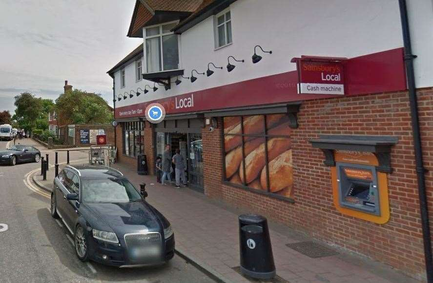 The robbery happened outside Sainsbury's Local in Headcorn High Street Picture: Google