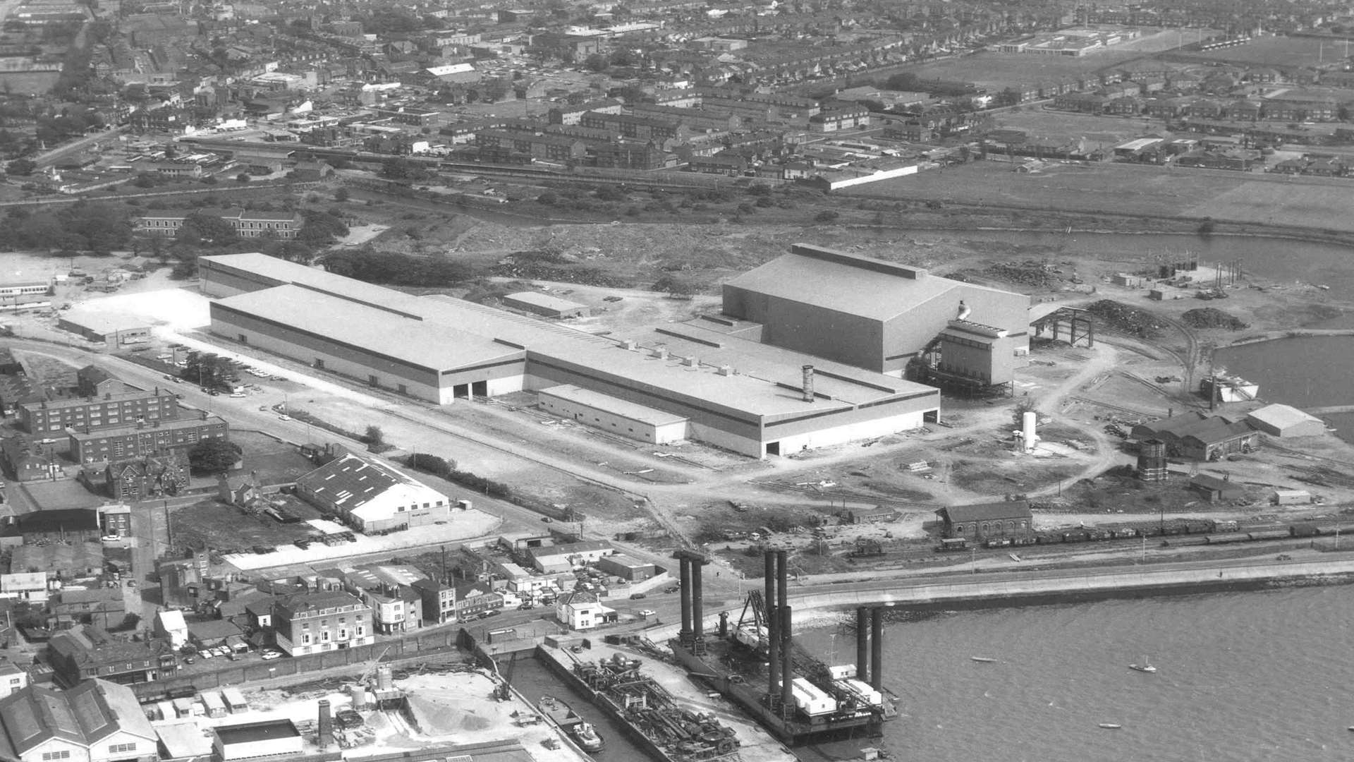 Aerial view of Sheerness Steel Mill November, 1972. Picture: Skyfotos, Lympne Airport