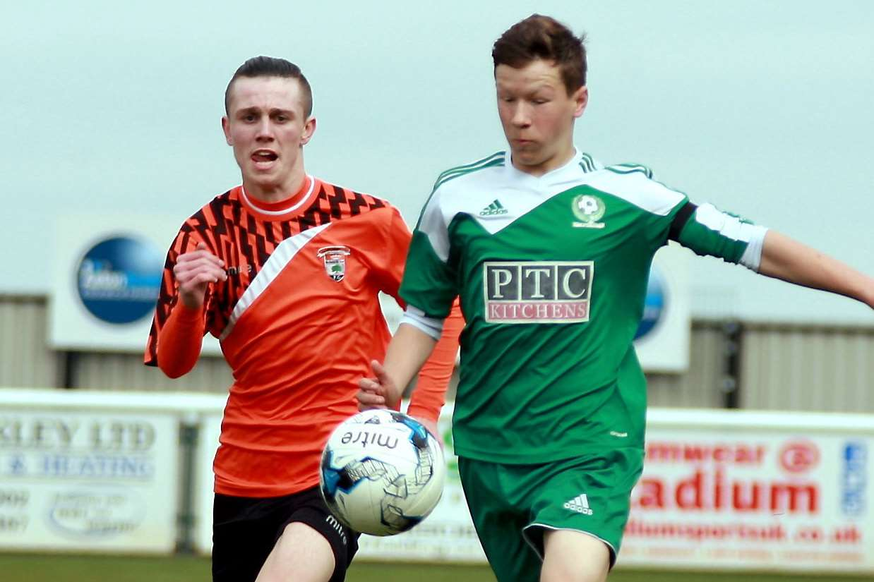Lordswood Youth, left, battle Eagles in the Under-16 John Leeds Trophy final Picture: Phil Lee