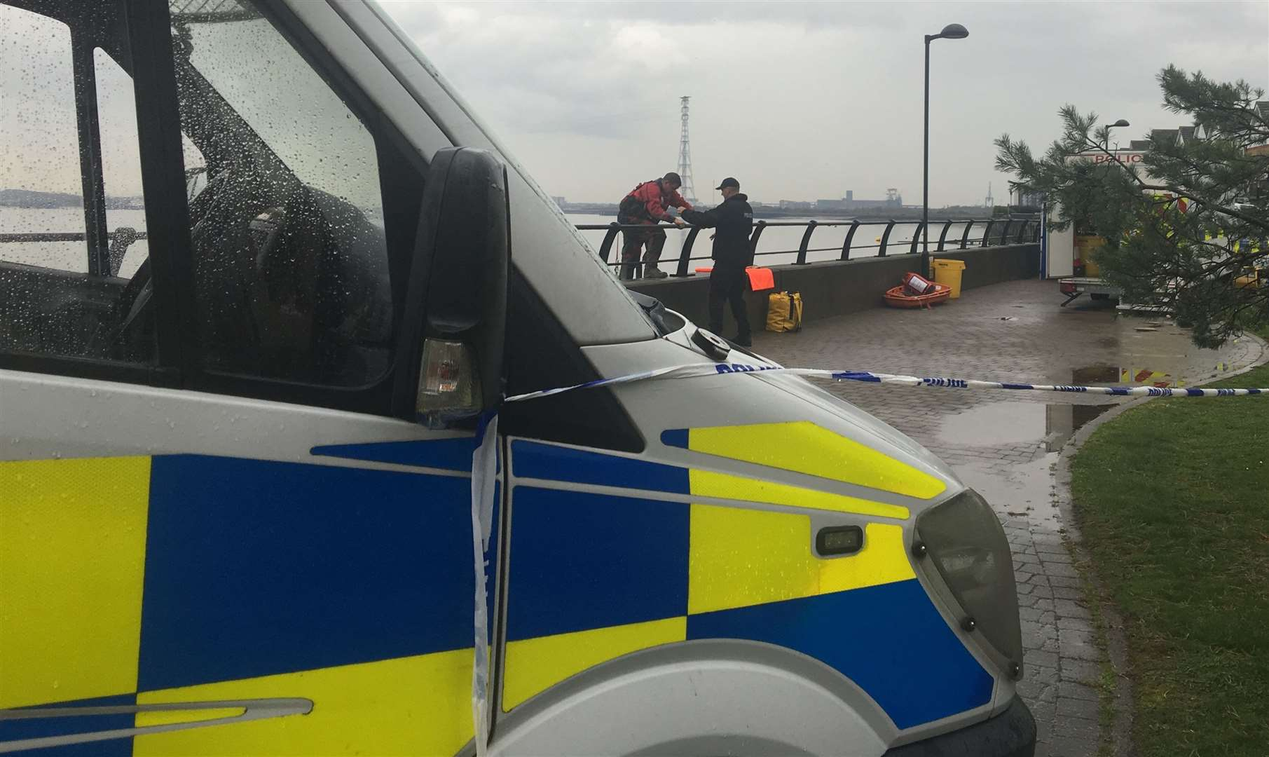 Police divers were seen searching the Thames by North Star Boulevard off Station Road at the time of Sarah Wellgreen's disappearance