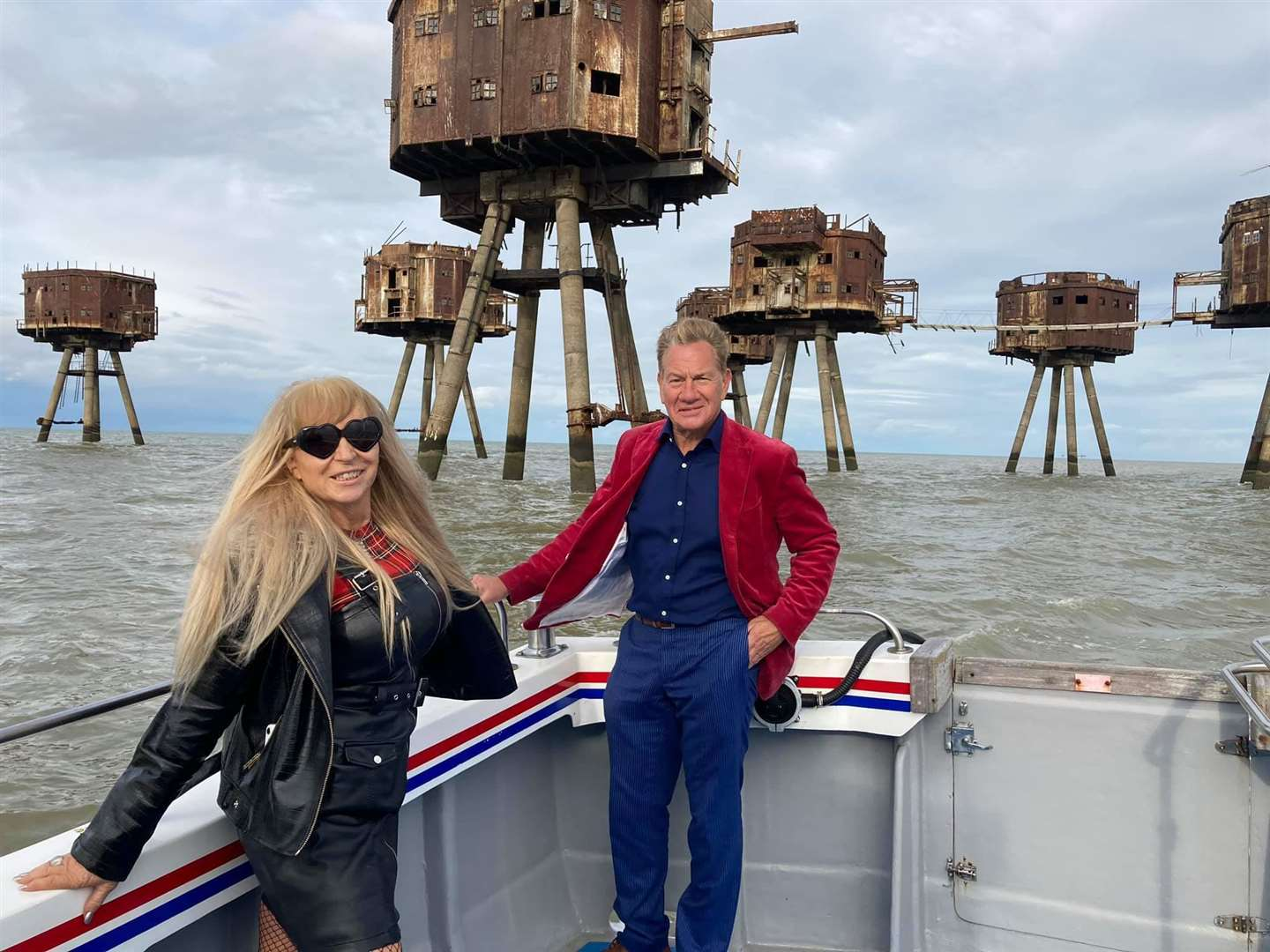 Margaret Flo McEwan heading to the Second World War Maunsell sea forts from Sheppey with Michael Portillo for a TV programme
