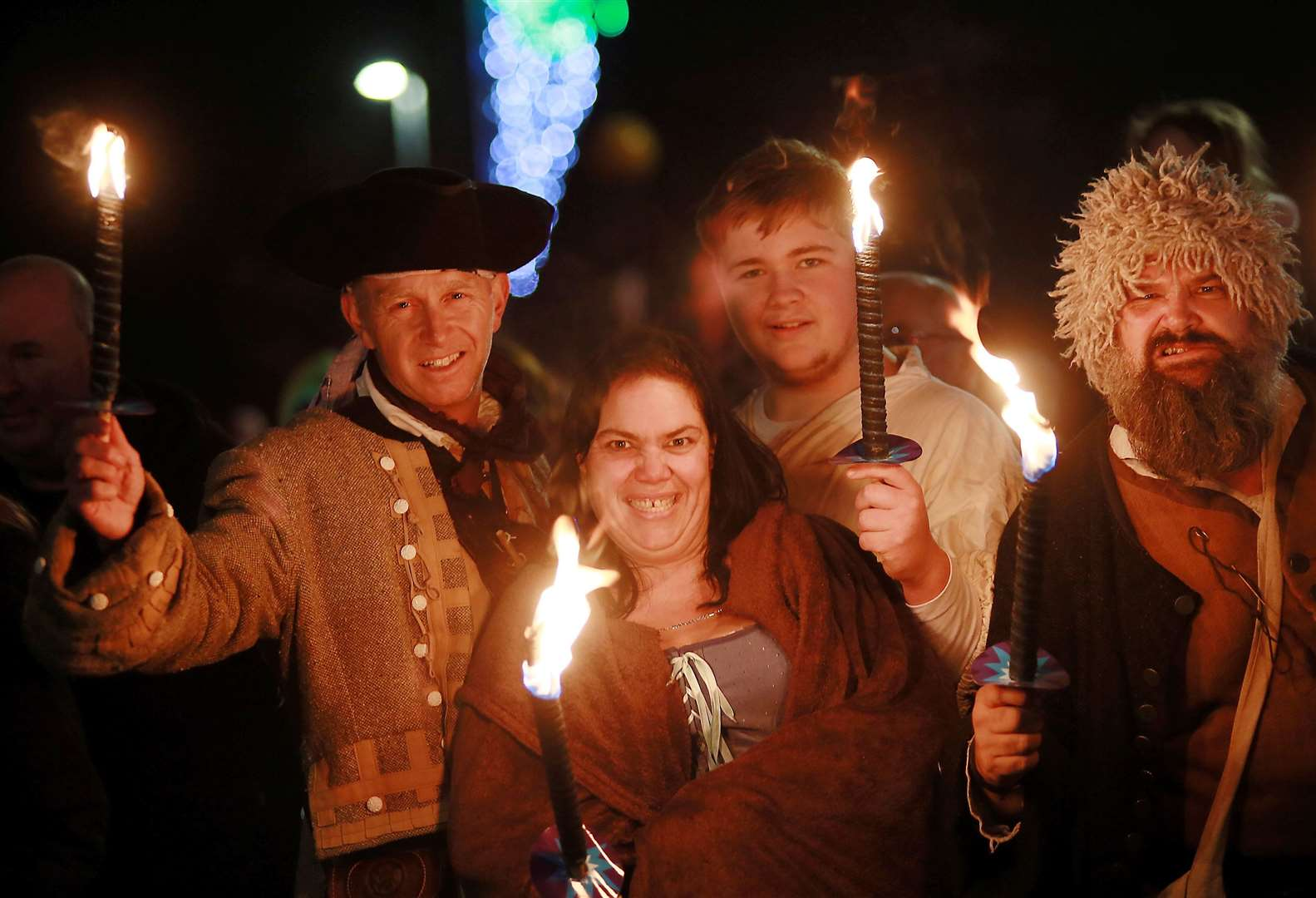 Captain Cutlass, right, and the Sheppey Pirates helped light up Queenborough's annual Christmas lantern parade on Sunday. Picture: Phil Lee