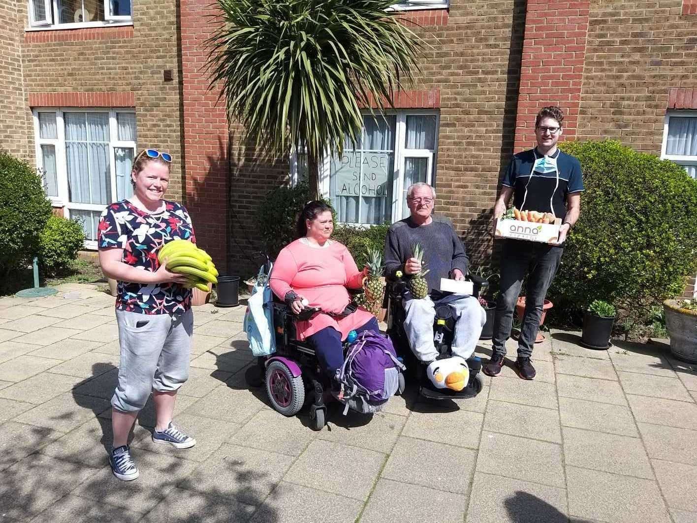Jo Treadgold (left) delivering fruit to The Little Oyster Residential Home Picture: Nicola Amuda