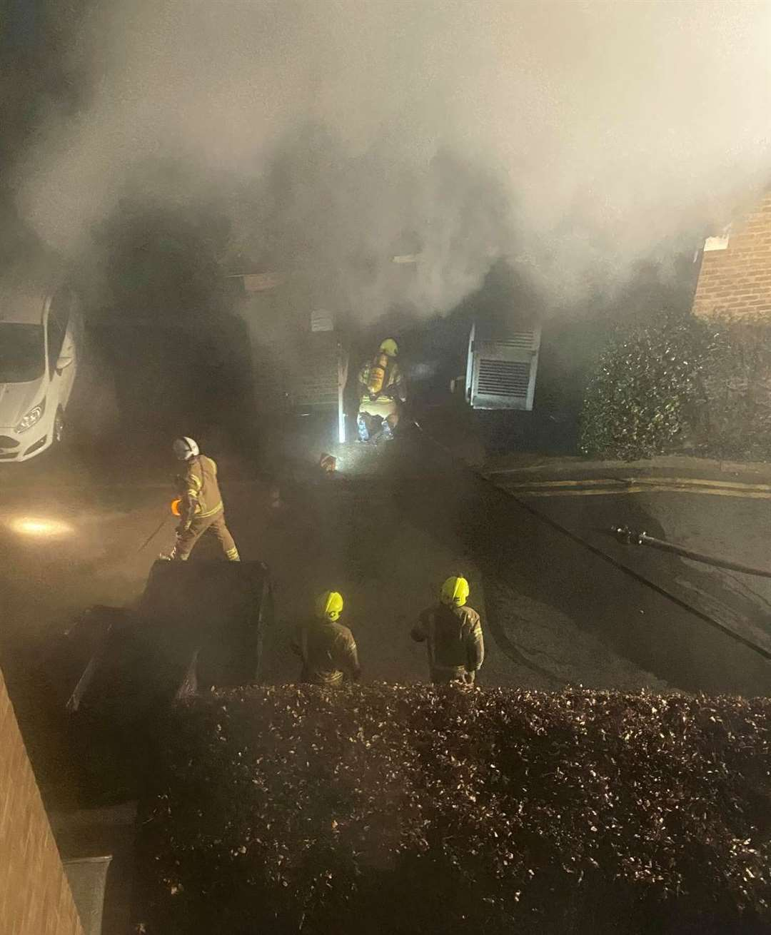The fire at River Bank Close in Maidstone Picture: Callum Swan