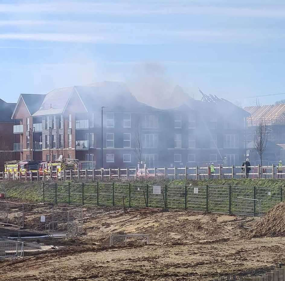 Smoke from the blaze could be seen from a distance.