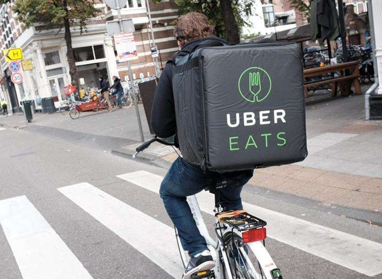 An Uber Eats delivery cyclist