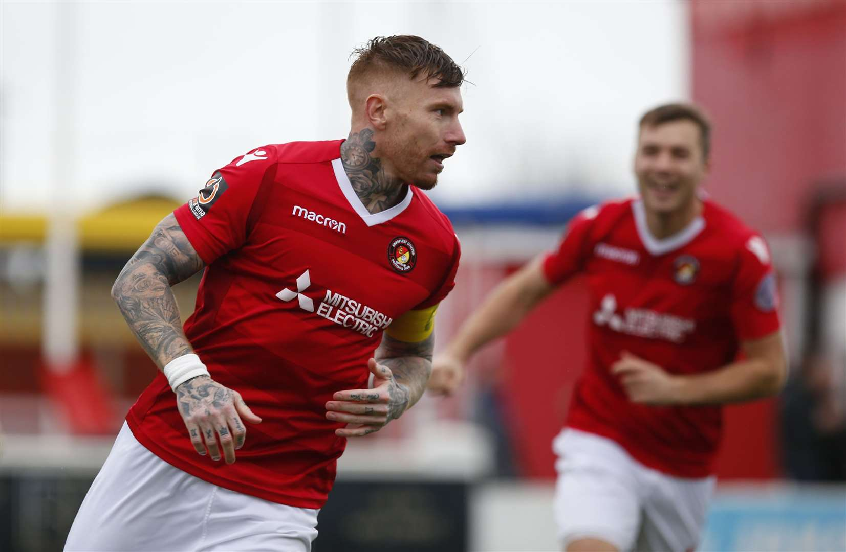 Captain Jack King celebrates a goal for Ebbsfleet Picture: Andy Jones