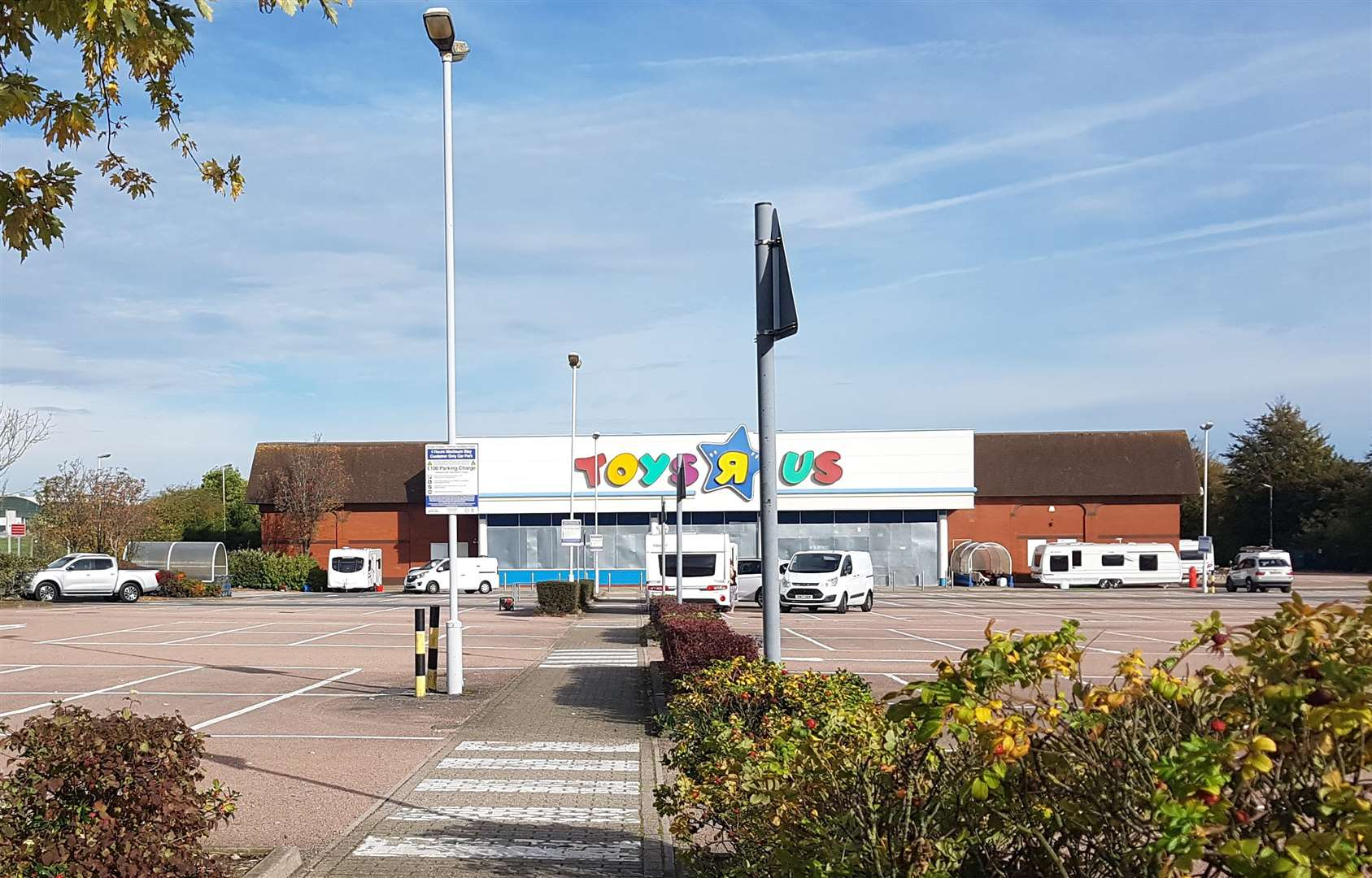 Travellers camped at Horsted Retail Park