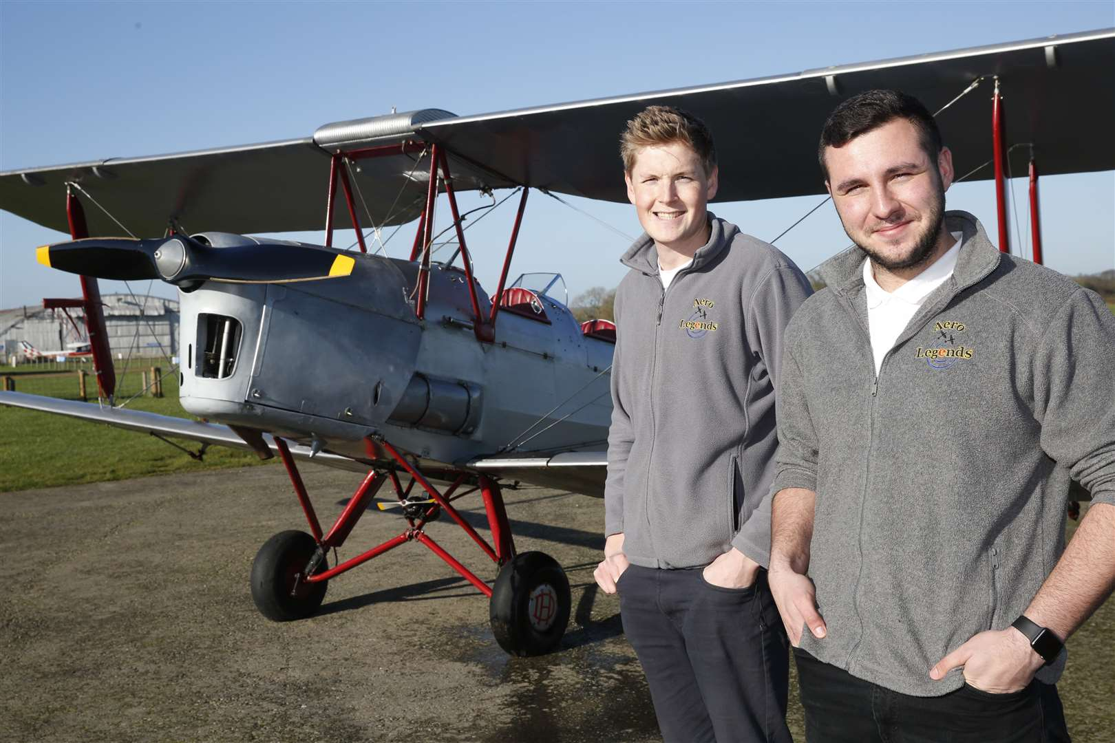 Elliot Styles and Ben Perkins. Aero Legends are asking people interested in vintage aircraft volunteer in exchange for free flights and lessons in their aircraft