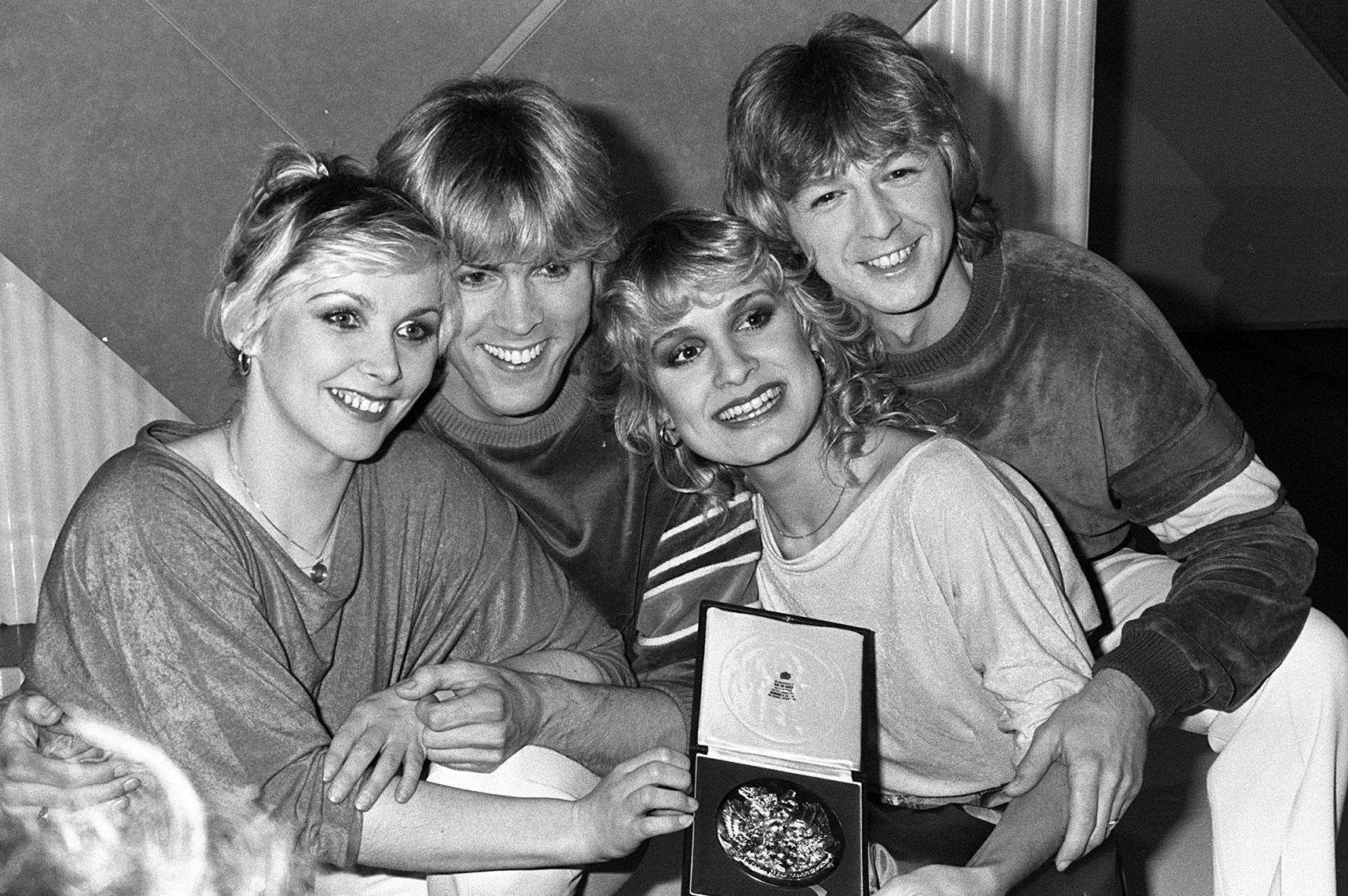 Bucks Fizz following their Eurovision Song Contest victory (from left): Cheryl Baker, Mike Nolan, Jay Aston and Bobby G. Picture: PA