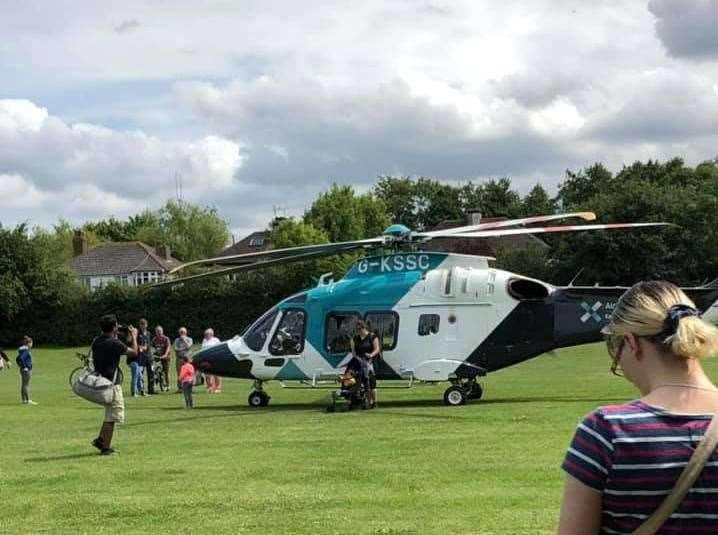 The air ambulance landed on Westmeads Rec. Pic: Janice Johnston (13497800)