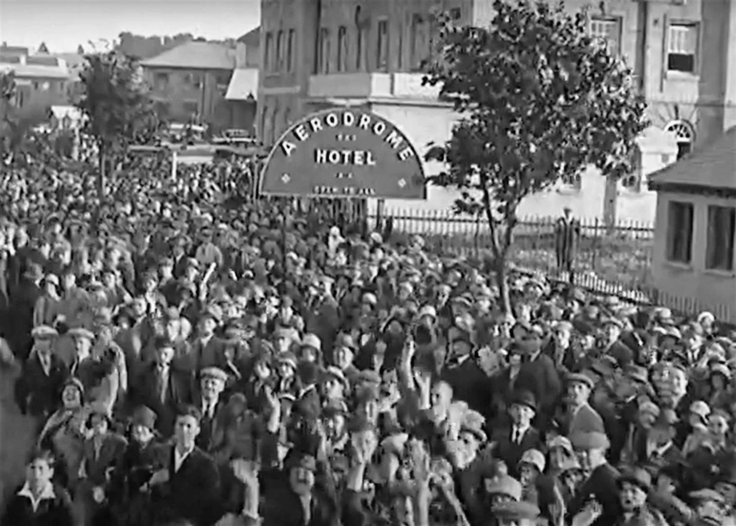 Thousands turned out to see Amy Johnson return home to England. Picture: British Pathe / YouTube