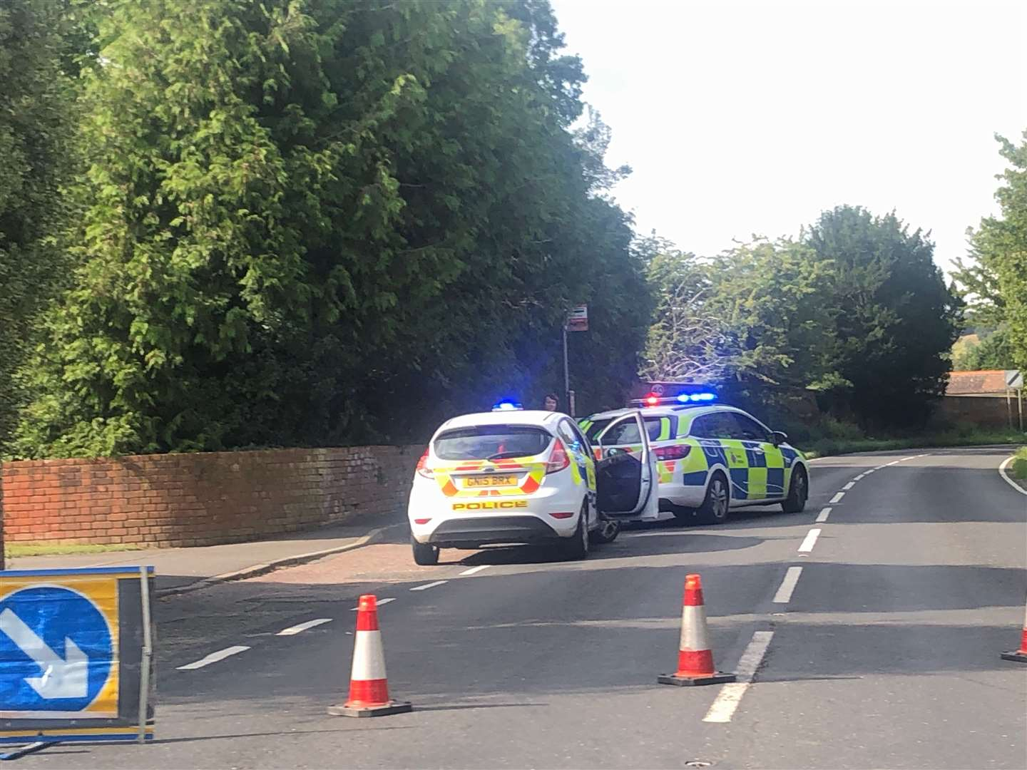 Police closed the A251 following the head-on crash. Picture: Steve Salter