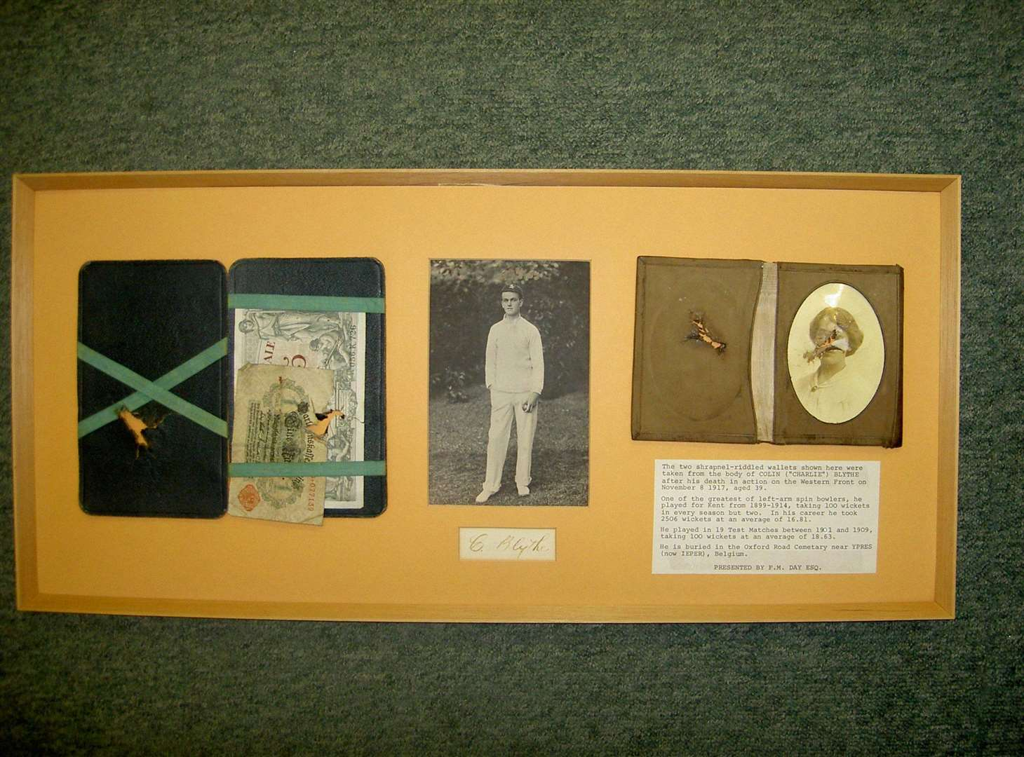 Colin Blythe's wallets which were pierced by shrapnel when he was killed