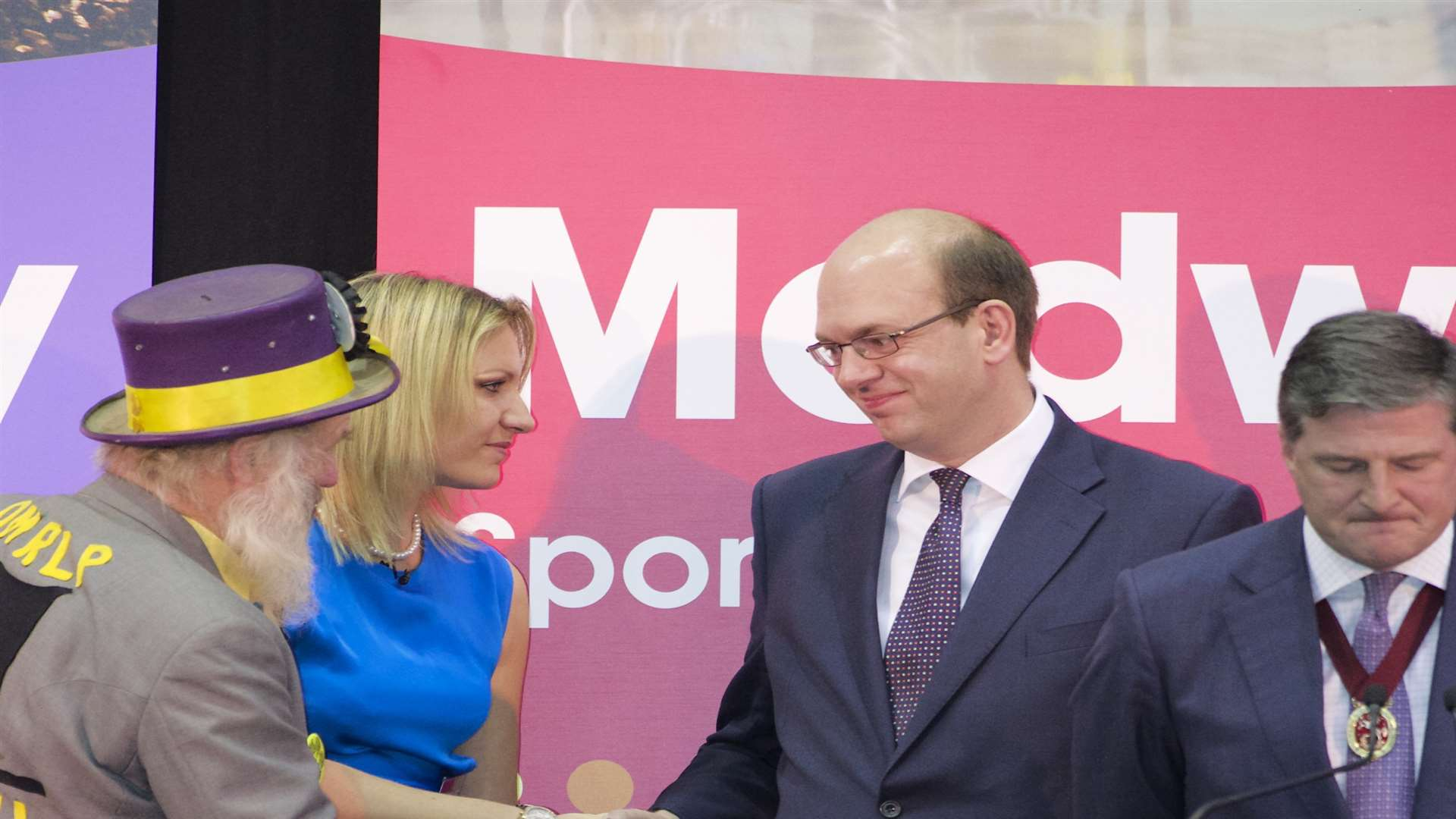 By-election winner Mark Reckless shakes other candidates' hands
