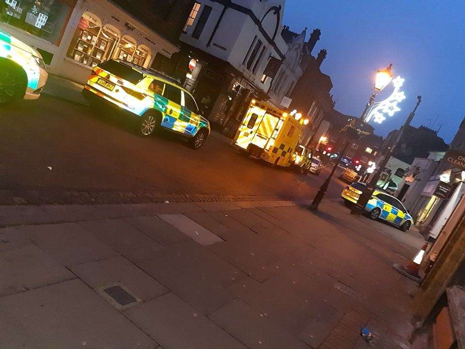 Police cars and an ambulance were called to Rochester High Street at 6.20am this morning. Pic: Sally at Off The Wall Photography.