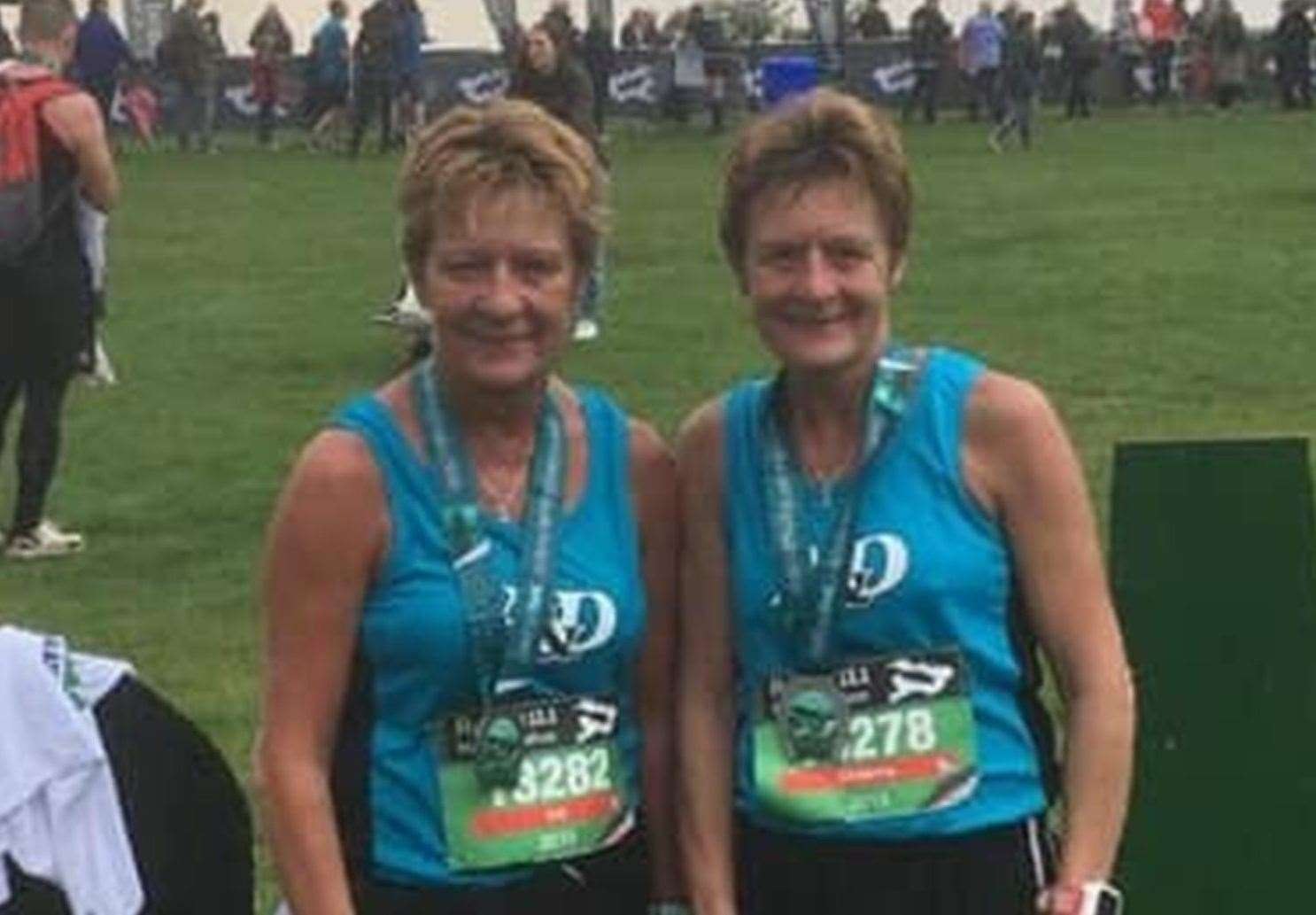 The top two ladies after four weeks. Ashford & District's Gill O'Connor and Christine Costiff at the Rutland Half Marathon.