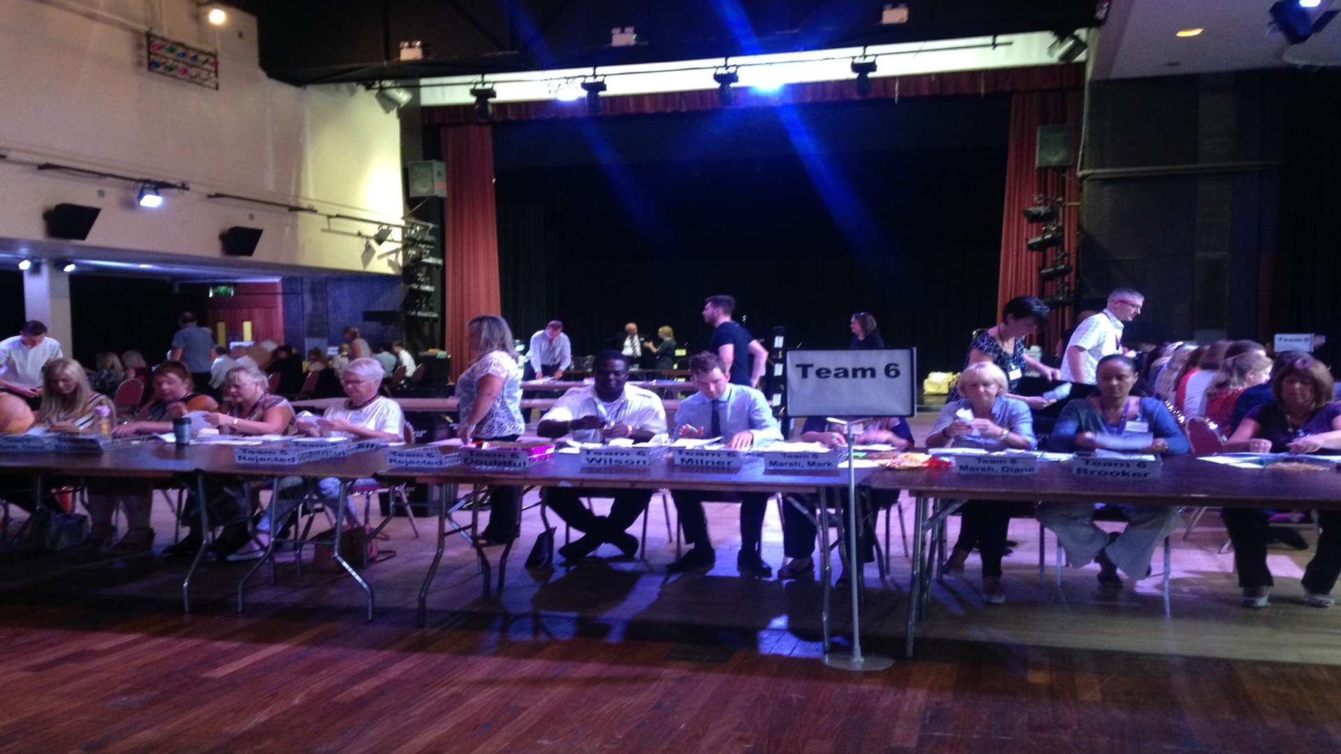 Teams of volunteers and staff of the council congregated to count the votes at The Woodville this morning.