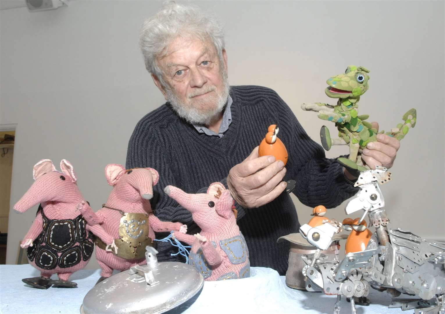 Peter Firmin and the Clanger puppets at the Sidney Cooper Centre in Canterbury