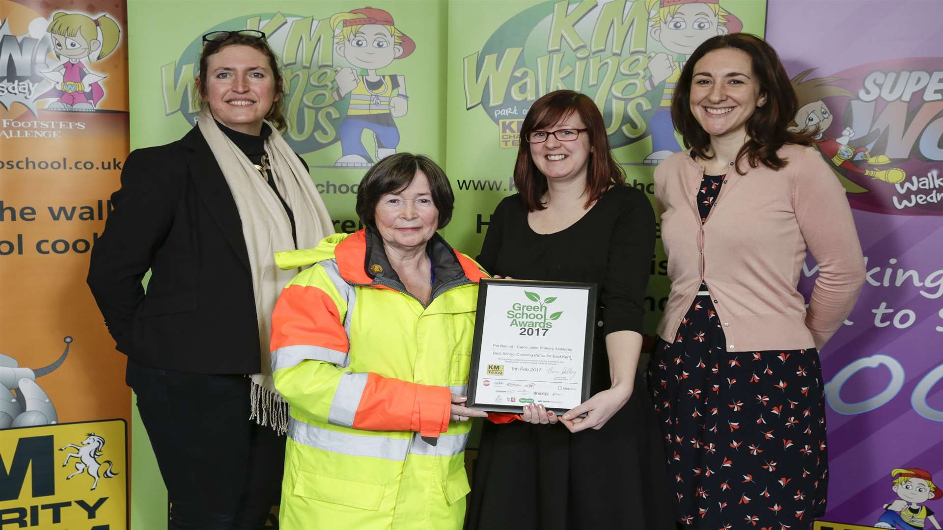 Caroline Huey of Orbit, Pat Bennett of Dame Janet Primary Academy and winner of Best School Crossing Patrol, Nikki Wood, and Charlotte Owen of KCC at the Green School Awards 2017.