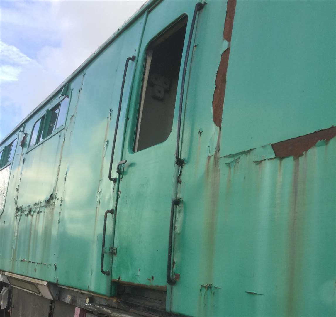 The mess coach where windows were smashed and lockers forced open