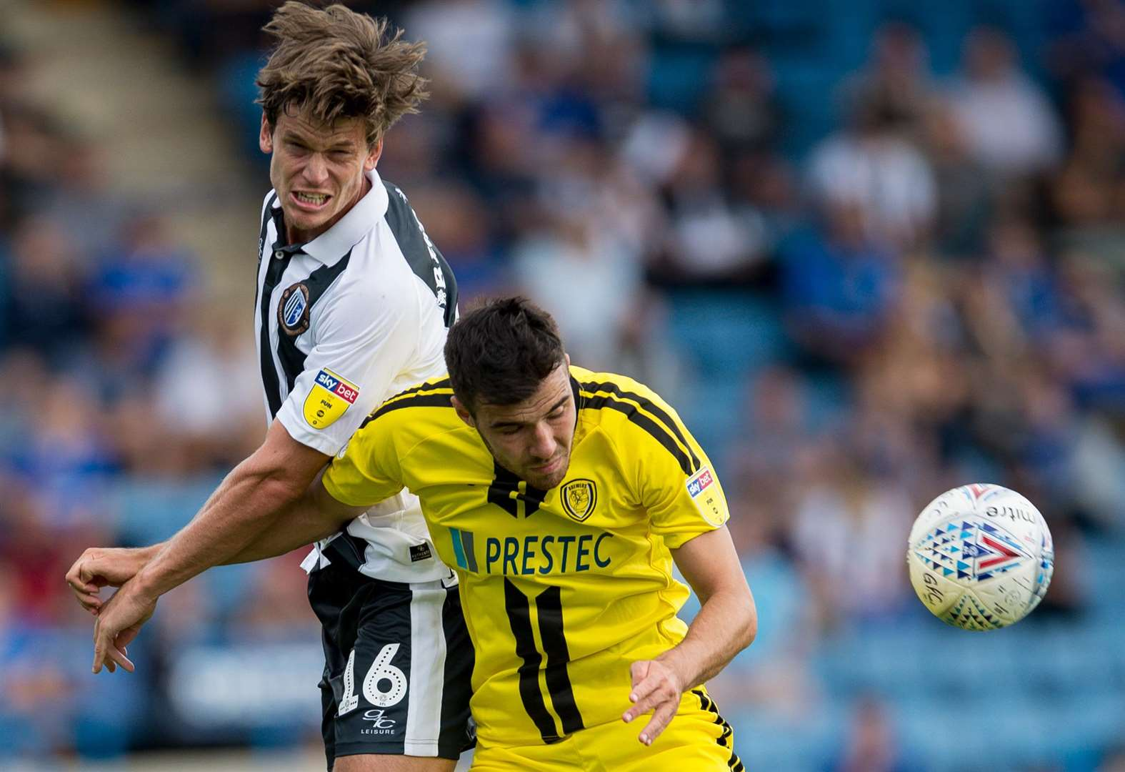 Billy Bingham challenges Burton's Scott Fraser Picture: Ady Kerry
