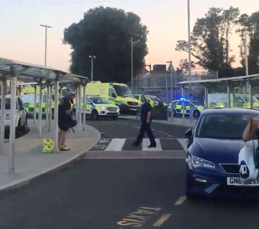 Emergency services at Ramsgate station after the incident. Picture: @PetrickGarcia / Twitter