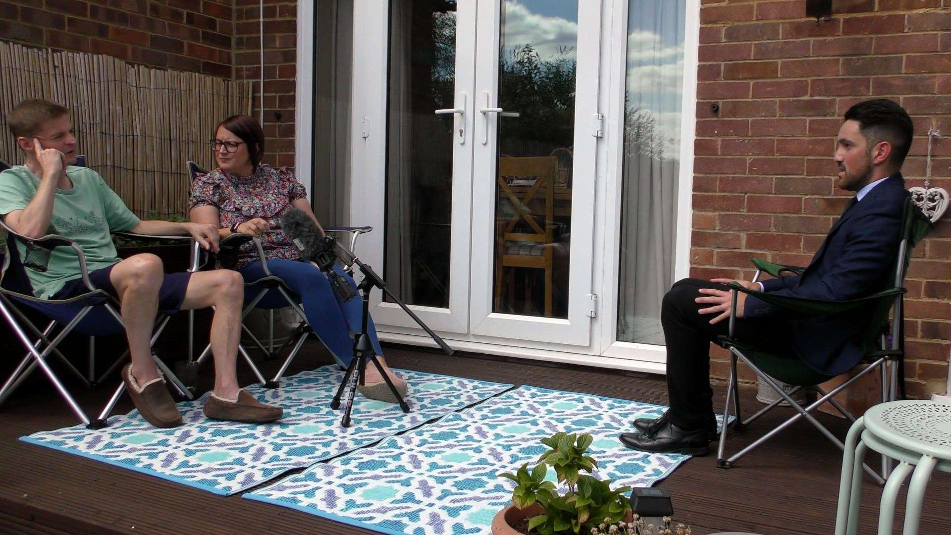 Darren and Lisa Moore talking to KMTV's Joe Coshan at their Swanley home