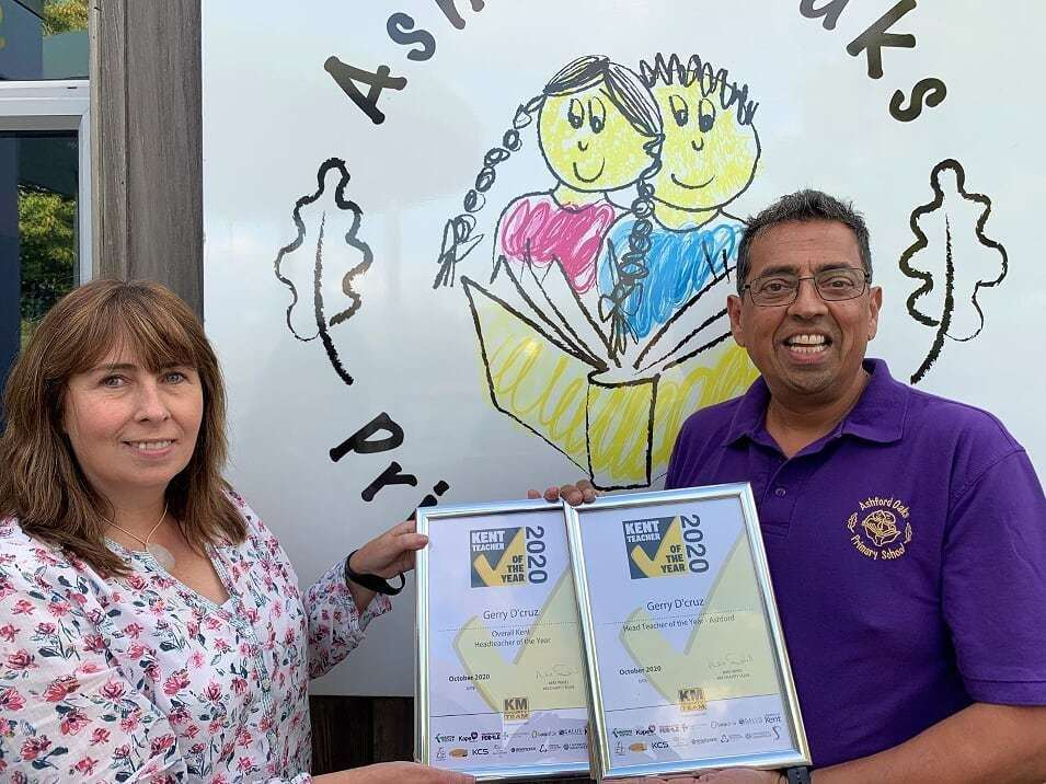 Gerry D'cruz of Ashford Oaks Primary has been named Kent Head Teacher of the Year 2020 at an awards event staged by children's wellbeing charity the KM Charity Team.