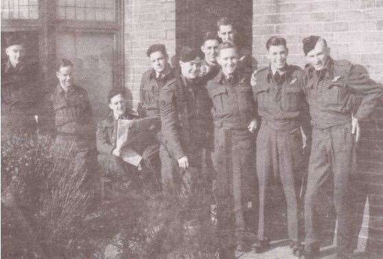 Chriss Bridger, far left, with his Lancaster bomber air crew