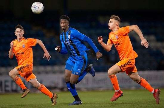 Gillingham's Emmanuel Fernandez in FA Youth Cup action against Ipswich last season Picture: Ady Kerry