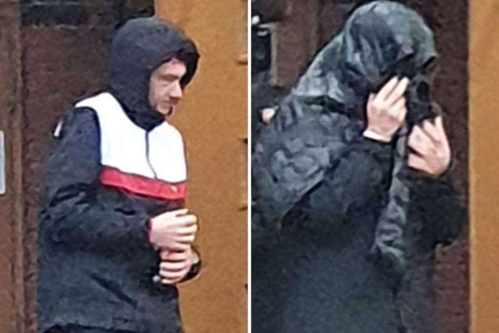 Jack Barron (left) and Luke Fogarolli, with his coat over his head, leave court after the verdicts