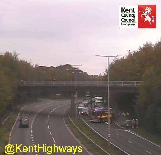 Emergency services are in attendance to the vehicle. Picture: @KentHighways via Twitter (42649509)