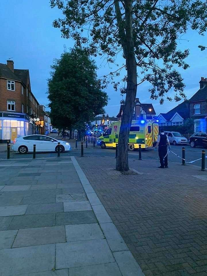 Ambulances at the scene of the incident in Chislehurst last night. Picture: @Kent_999s