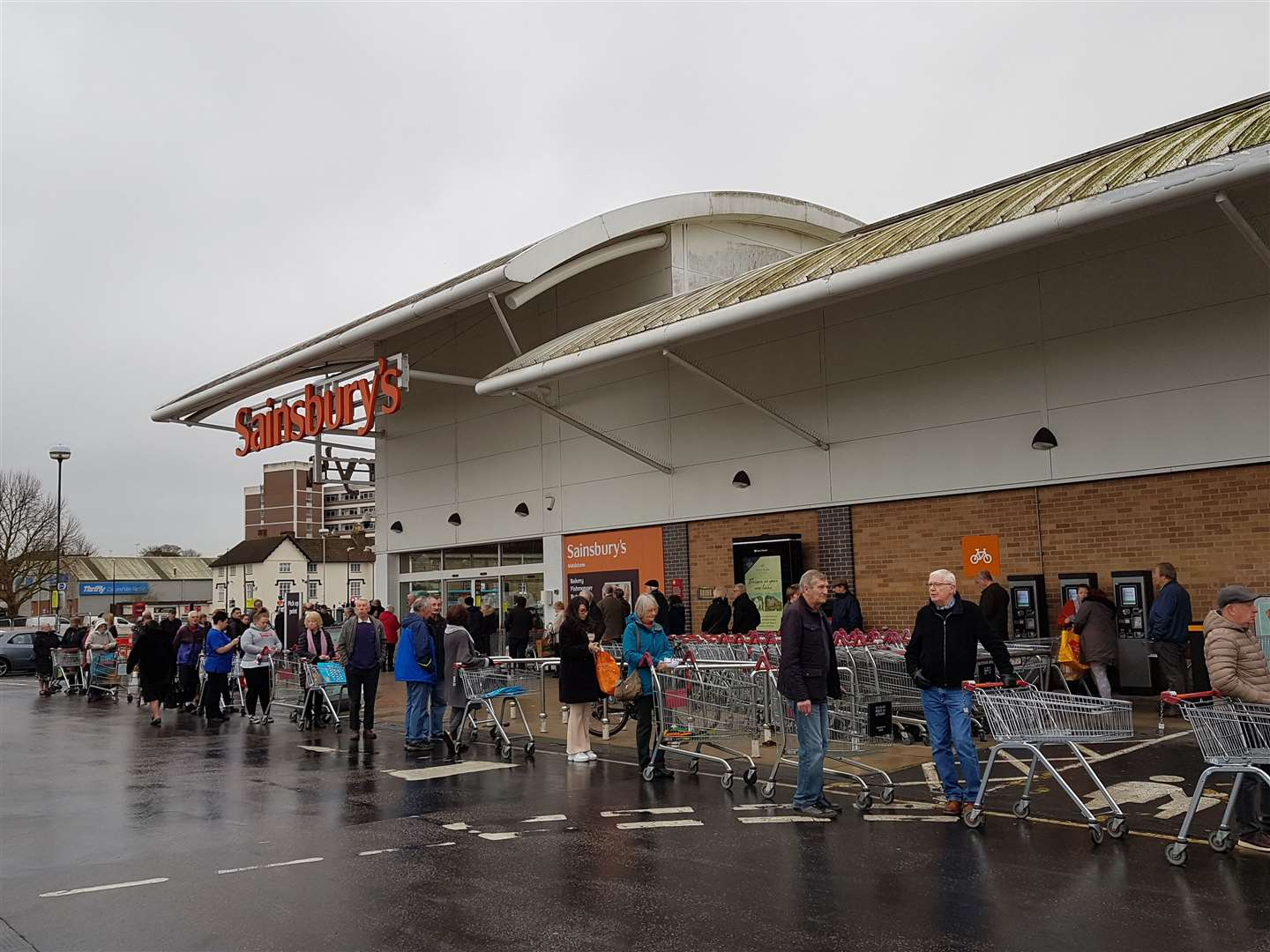 Queues outside Sainsbury's in Maidstone