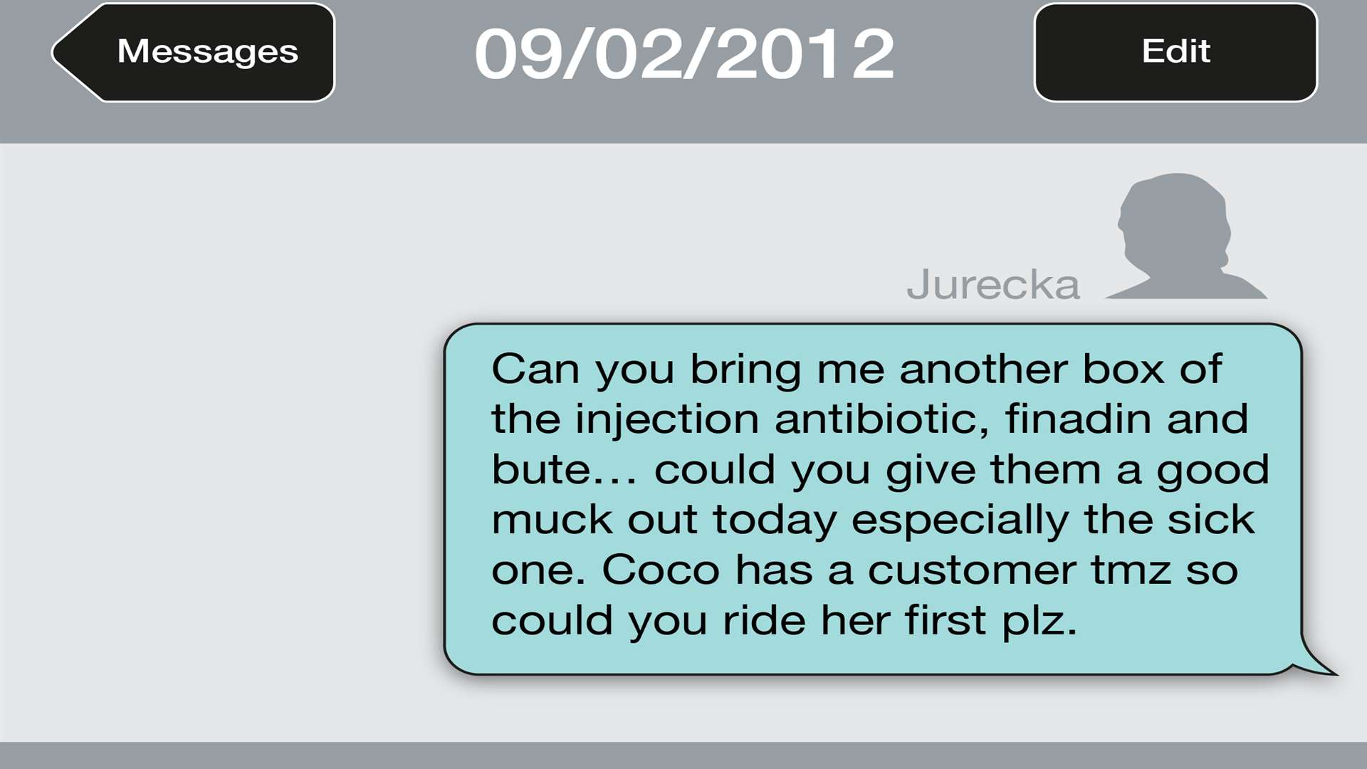 A text message sent by Jurecka
