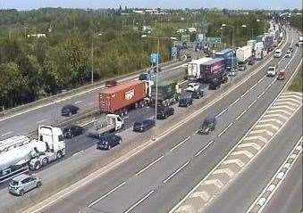 Queuing traffic on the M25 from Swanley towards the Dartford Crossing after a tunnel was blocked. Picture: Highways England