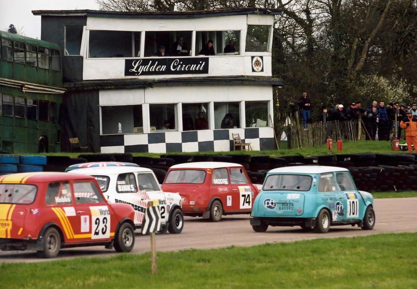 Minicross drivers - including Ashford's Terry Moore (74) - await the start at Lydden Hill in March 2002. Picture: Kerry Dunlop