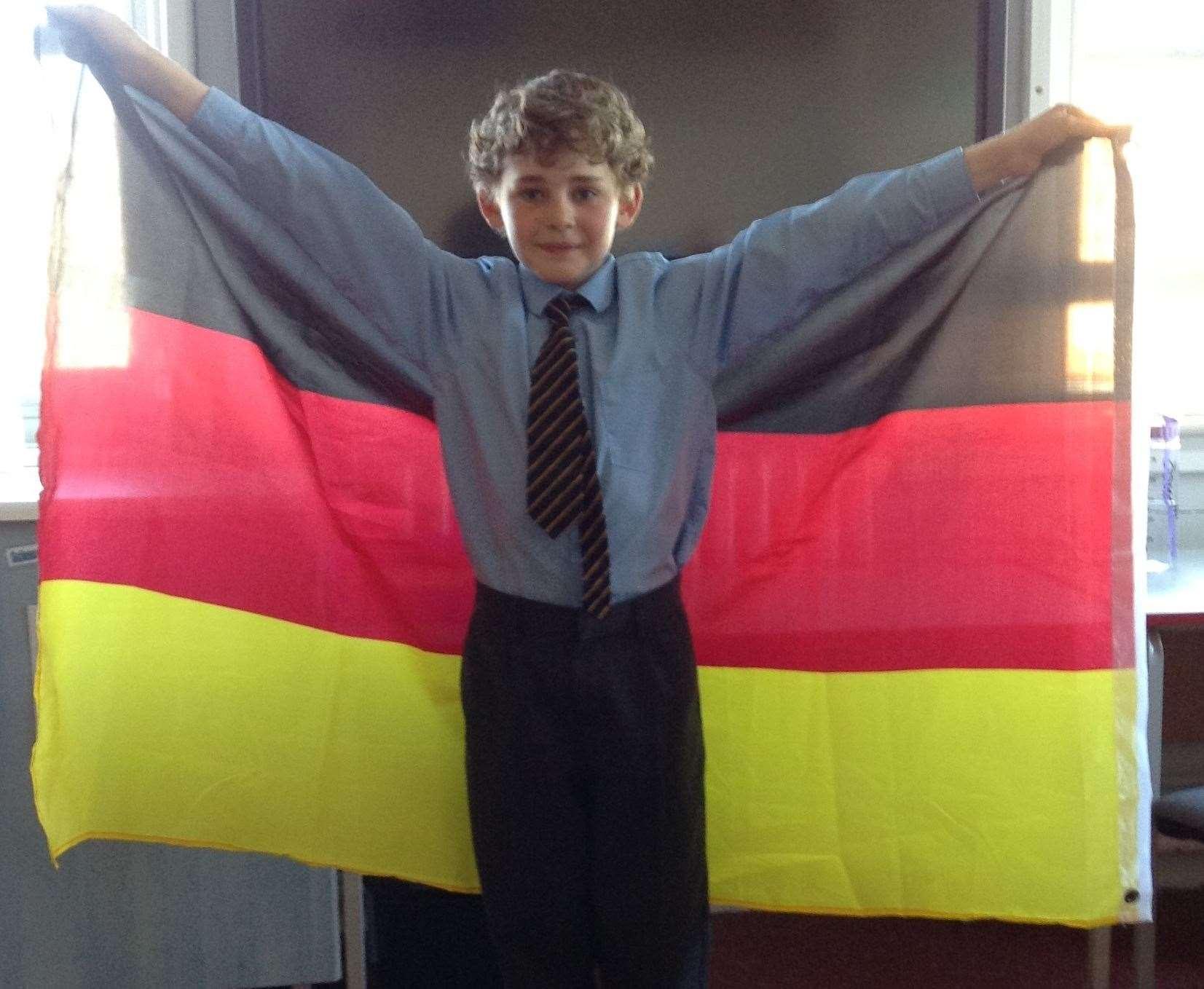 Tommy Oxford gewann den ersten Platz bei der Deutschen Olympiade in der 5. Klasse an der Brandeis School in Graveson.  Bild: Markenschule