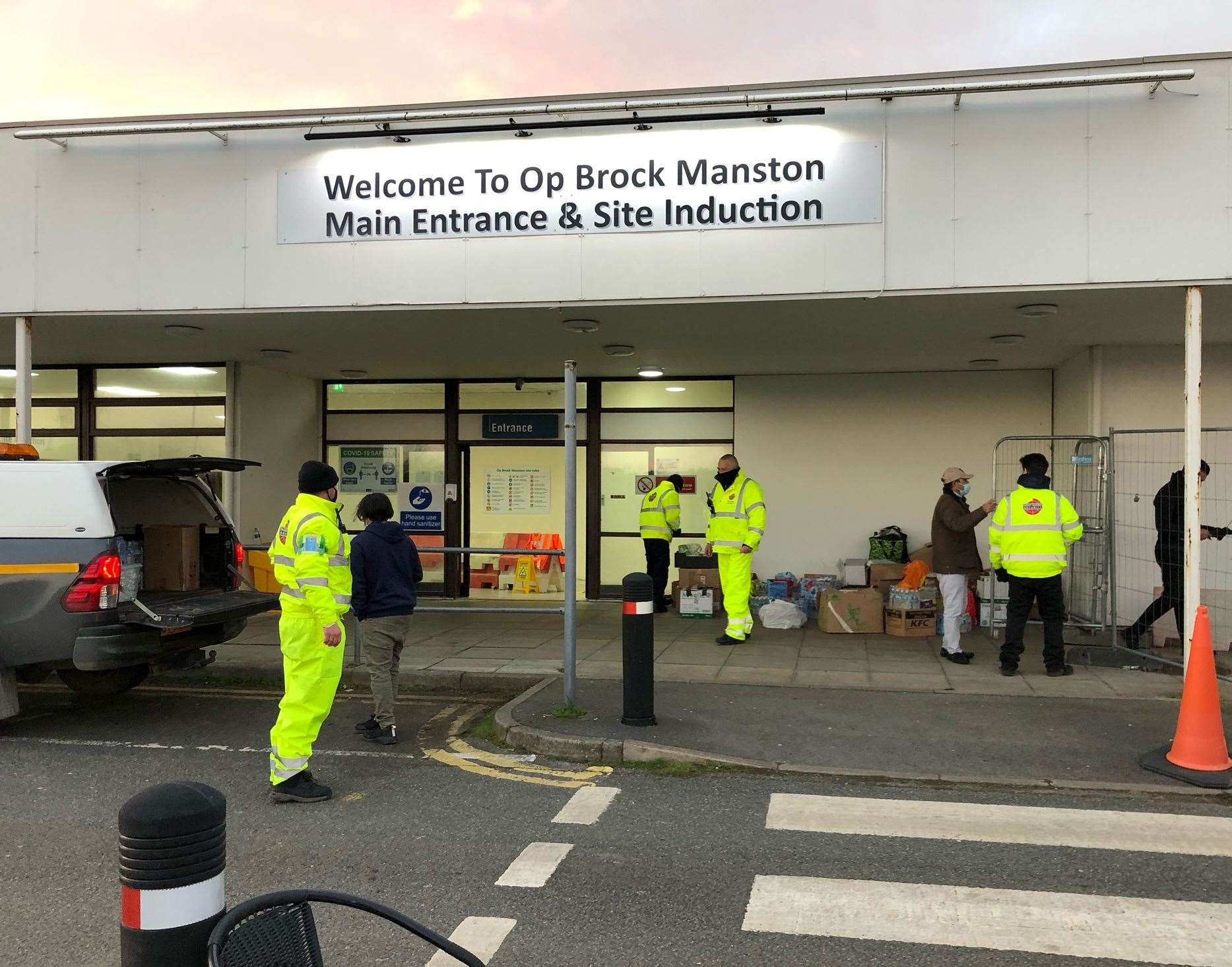 Relief efforts took place to deliver food and other essential items to stranded lorry drivers in Manston yesterday