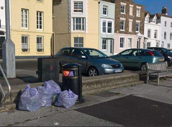 Weekenders were blamed for filling seafront bins with household rubbish sacks (6149046)