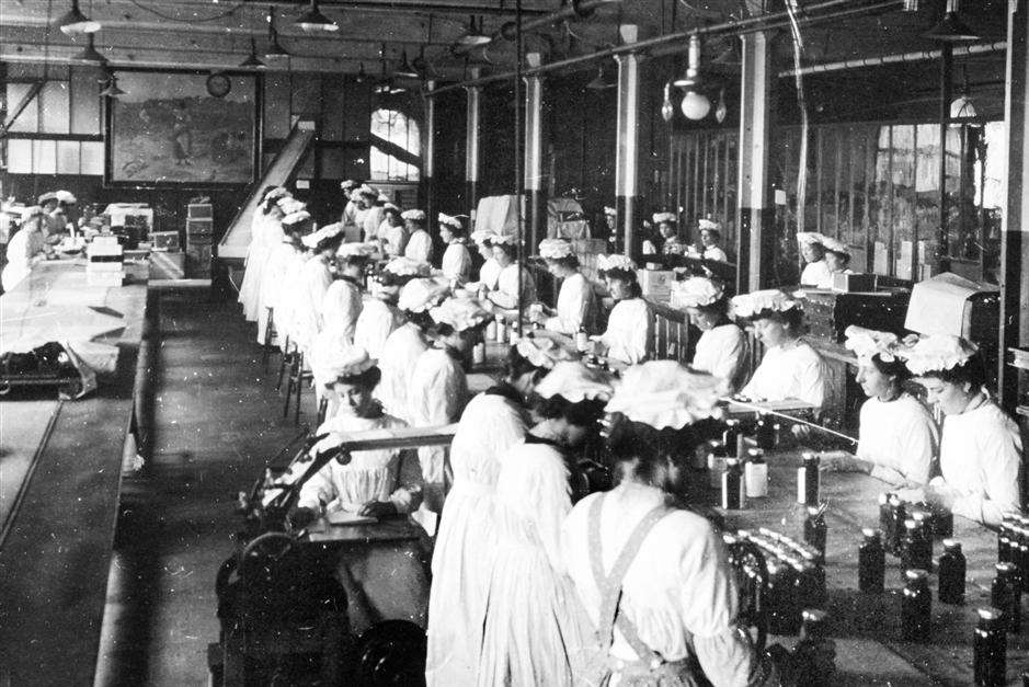 Workers on the factory floor at GlaxoSmithKline, then known as Burroughs Wellcome