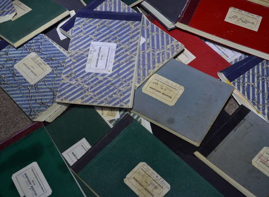 Dozens of books were found, containing confidential details of patients over the decades